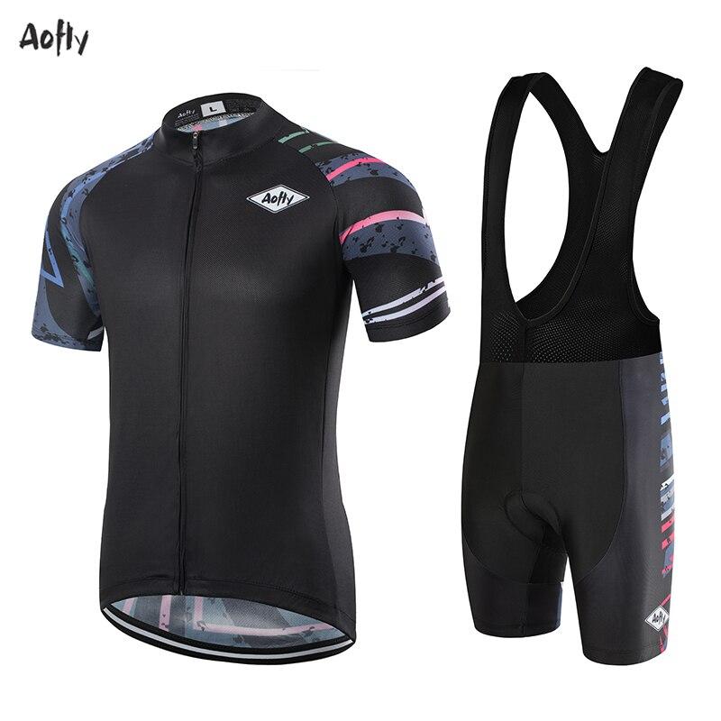 Aofly 2020 ropa de ciclismo para hombre, Conjunto de jersey de larga distancia para correr, triatlón, camisetas cortas para mtb, secado rápido de tela, maillot negro