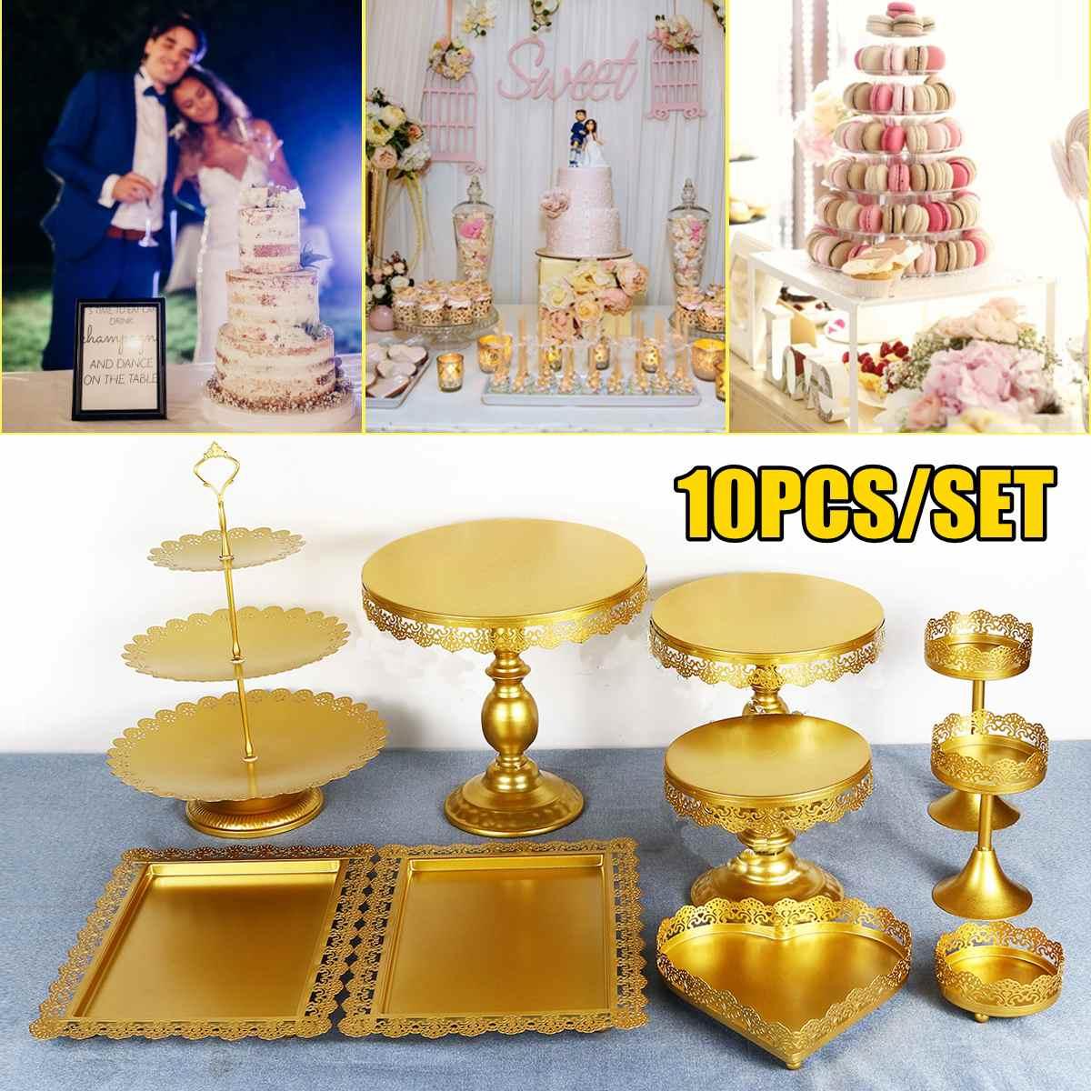 طقم حامل كعك ذهبي 5/10 قطعة دائري معدني كريستال كب كيك عرض الحلوى الركيزة عرض حفلات الزفاف تزيين الطاولة