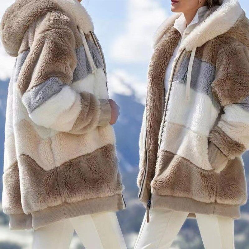 Женская верхняя одежда, зимняя теплая мягкая куртка с капюшоном, Женская свободная плюшевая многоцветная куртка с капюшоном, Повседневная ...