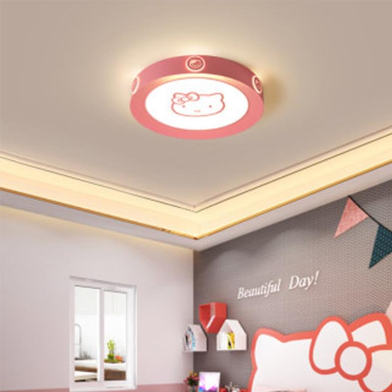 Lámpara led moderna de superman de Hello Kitty con dibujos circulares para niños, lámpara de techo acrílica para habitación de niños