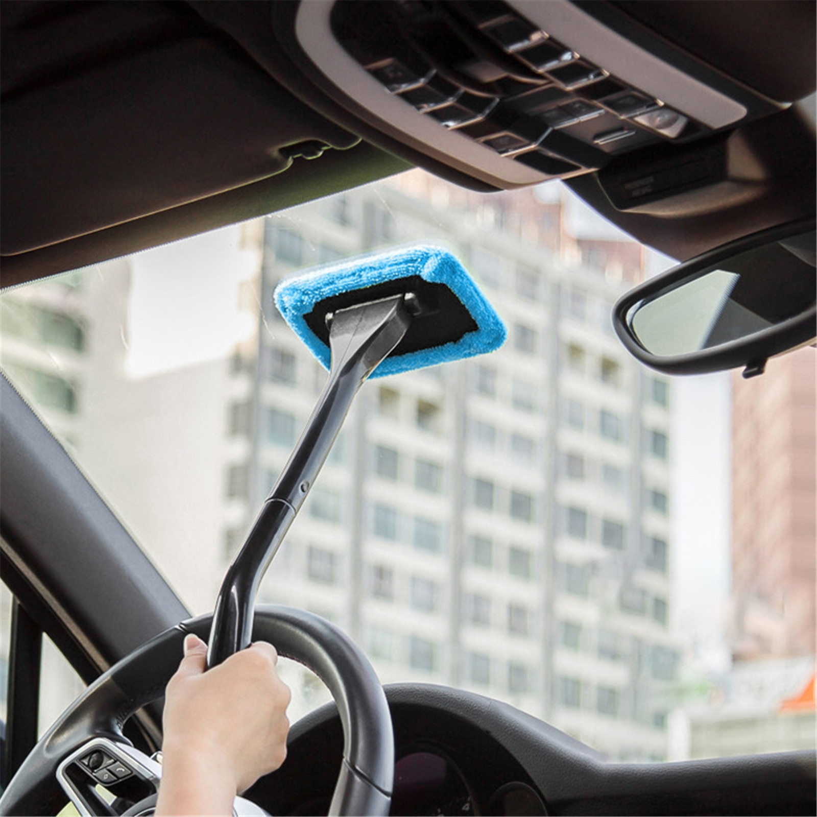 1pc microfiber telescoping car body duster wax dust mop cleaning brush cotton nanofiber car microfiber dust grey brush 13 5x40cm 1PC Detachable Auto Window Brush Microfiber Car Window Dust Fog Moisture Cleaner Wash Brush Windshield Towel Car Cleaning Tool