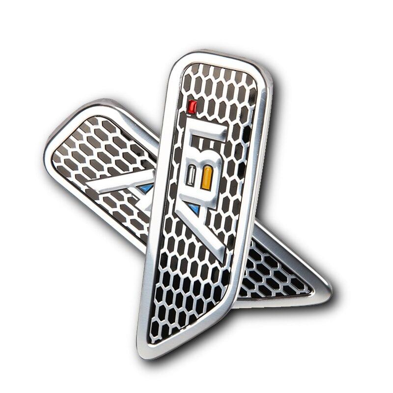 Pegatinas de guardabarros lateral en 3D, 2 uds., emblema de aluminio para Volkswagen Polo Golf Passat B5 Tiguan GTI, accesorios