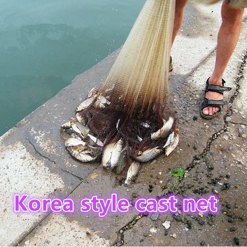 D450cm Korea style cast net round fishing net fish trap fishing network potes rede de pesca fishing net china hand throw net enlarge