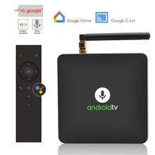 Quad-Core Google Voice Smart Android Tv Box Google Home Chromecast 4K Youtube Bluetooth H.265 Voice Afstandsbediening set Top Box