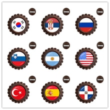 National Flag Glass Cabochon Wood Brooches Korea,Serbia,Russia,Slovenia,Argentina,United States,Turkey,Spain,Dominica Jewelry