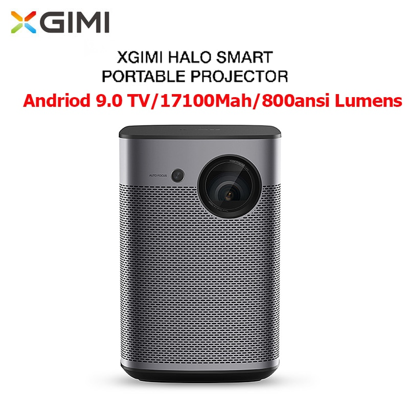 Xgimi halo 3d projetor portátil android tv 9.0 17100 mah 800 ansi lumens 1080 p correção de keystone 4 k ultra hd projetor