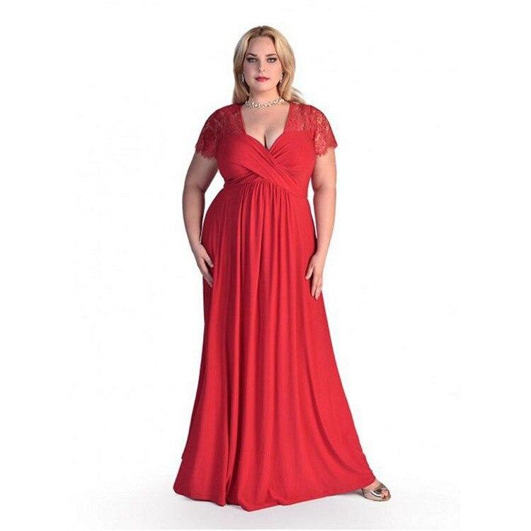 Vestido de fiesta de tamaño grande 2019 nuevo sexy cuello en V de encaje de manga corta suelto cejas grandes XL vestido