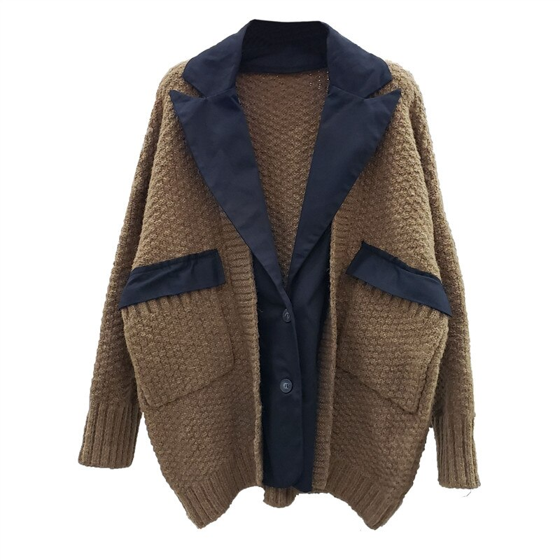 Women Loose Cardigan Suit Collar Stitching Design Autumn and Winter Knitwear Jersey Mujer 2021 enlarge