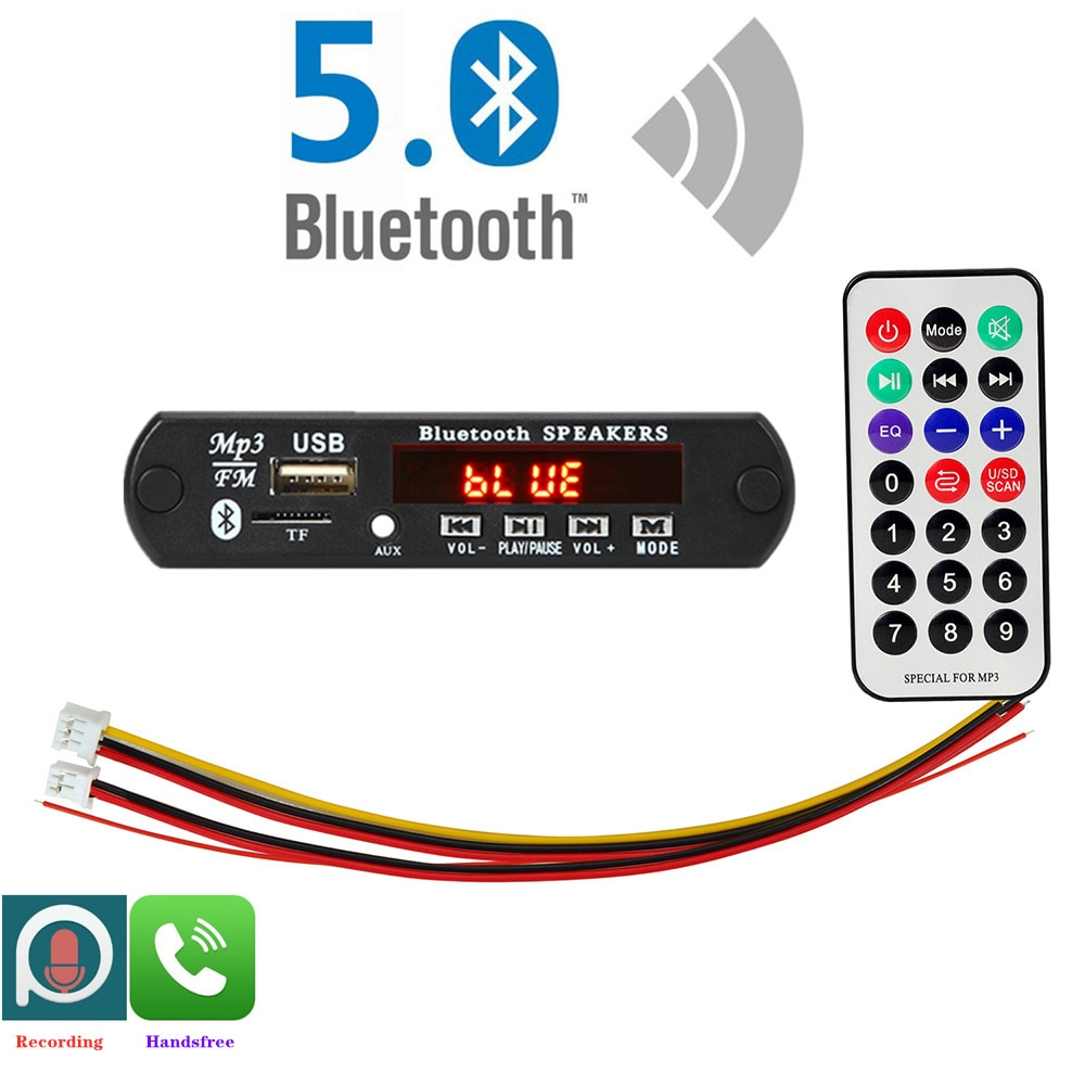 ARuiMei Microphone Handsfree 5v-12v Bluetooth5.0 MP3 Decoding Board Module Wireless Car USB MP3 Play