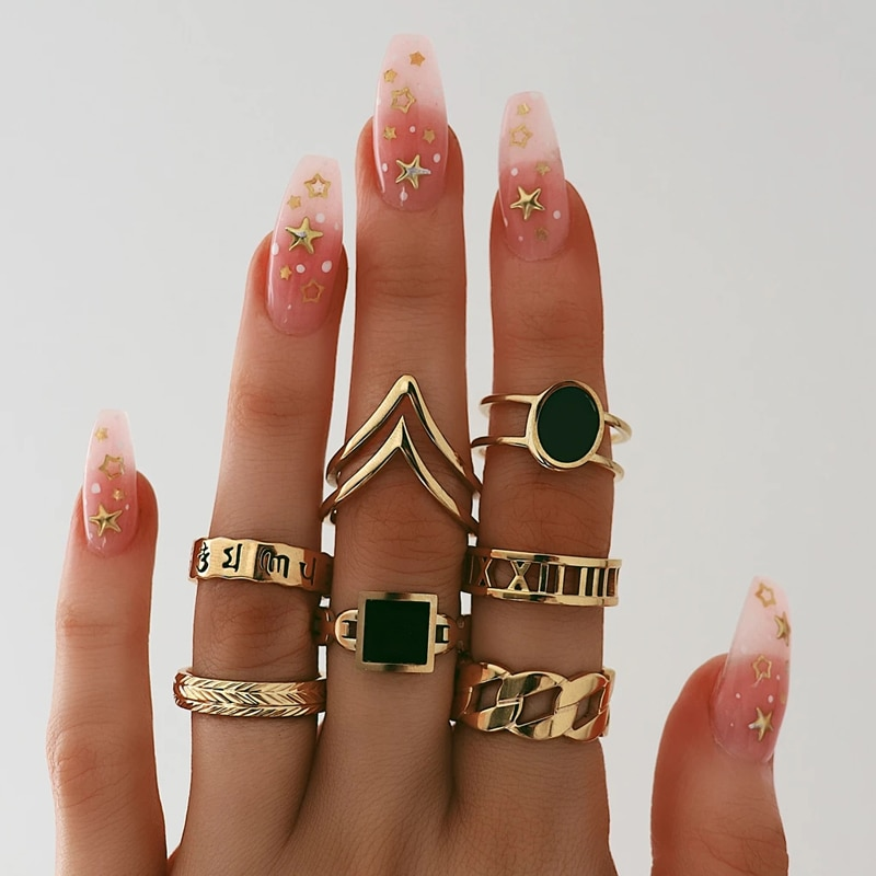 Tocona 7 unids/set anillos de Color dorado Vintage anillos Midi negro anillo de imitación letra Set fiesta Bague Femme 9808