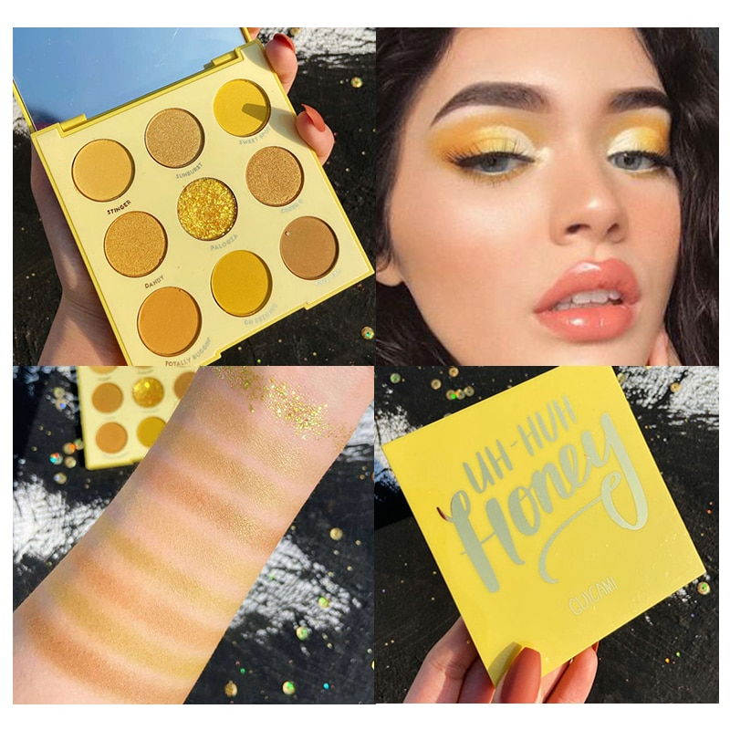 9 colores paleta de sombra de ojos cariño maquillaje de ojos pigmento suave brillo amarillo, naranja sombra de ojos para diario fiesta