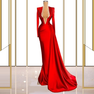Red Women's Evening Dresses Long Sleeve Elegant Party Clothing for Events Gowns