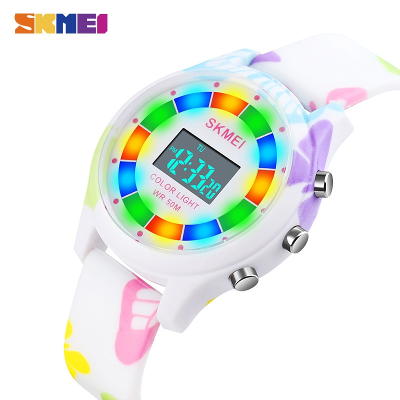 New Colorful LED Light Children Electronic Clock Kids Wristwatches 5Bar Waterproof Digital Sports Watches For Boys Girls Gift