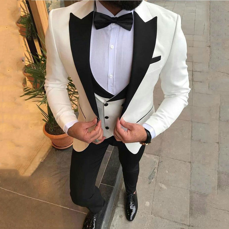 Lo último en pantalones de abrigo, trajes de novio esmoquin blanco para hombre, Blazer de boda, chaqueta de diseño pico para fumar, chaqueta entallada para hombre, 3 piezas