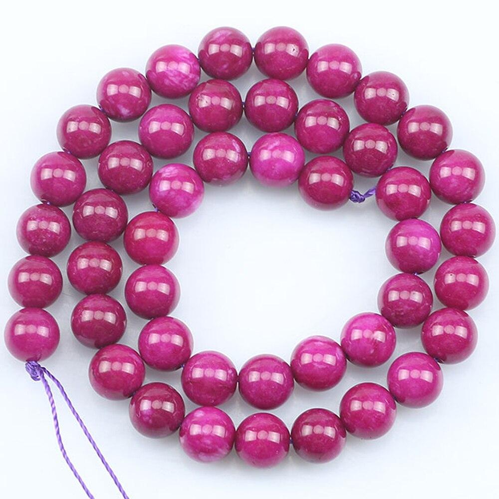 Pedra Natural Jades Rússia Roxo Escuro Talão Liso Rodada Soltos Spacer Beads Para Fazer Jóias Pulseira Diy Colar 6/8/10mm