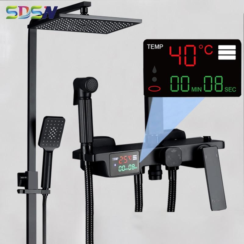 ترموستاتي الحمام دش مجموعة SDSN ماتي الأسود أدوات دش الحمام الأمطار دش رئيس الفاخرة الأسود الرقمية دش مجموعة