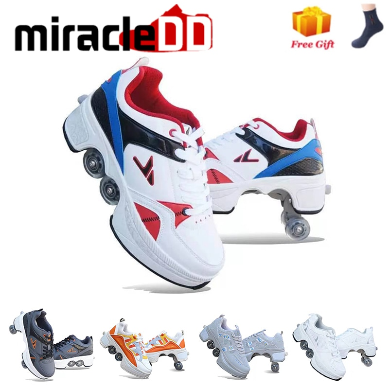 Adults Unisex Roller Skates with 4 Wheels Casual Shoes  Deformation Heelys Parkour Sneakers  For Kids Rounds Children Of Running