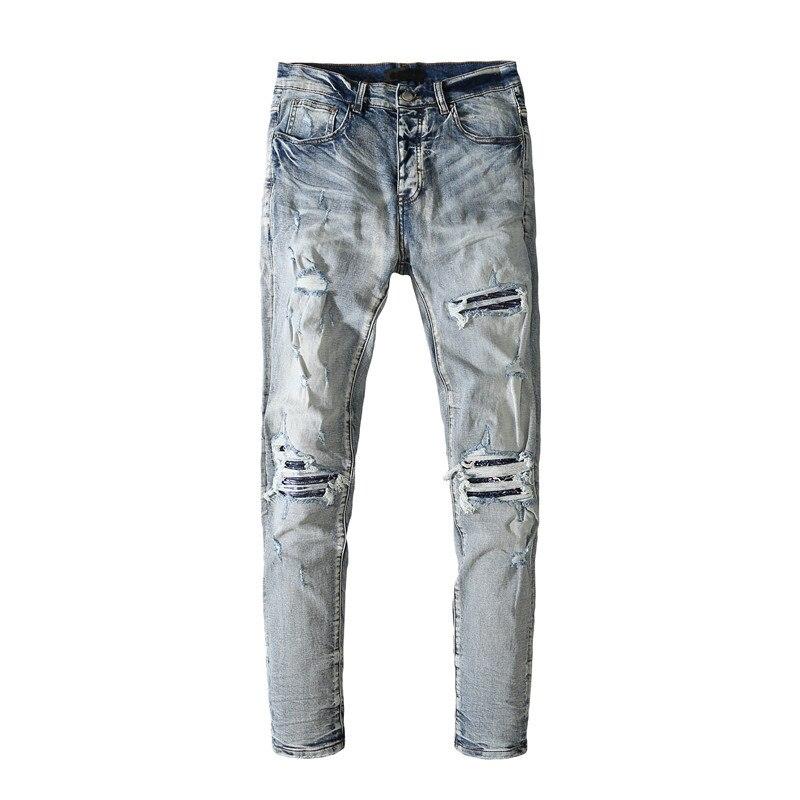 American Famous Brand AMR Vintage Ripped Jeans Sweatpants Men Trousers Men's Pants Men's Clothing Streetwear Techwear Y2k