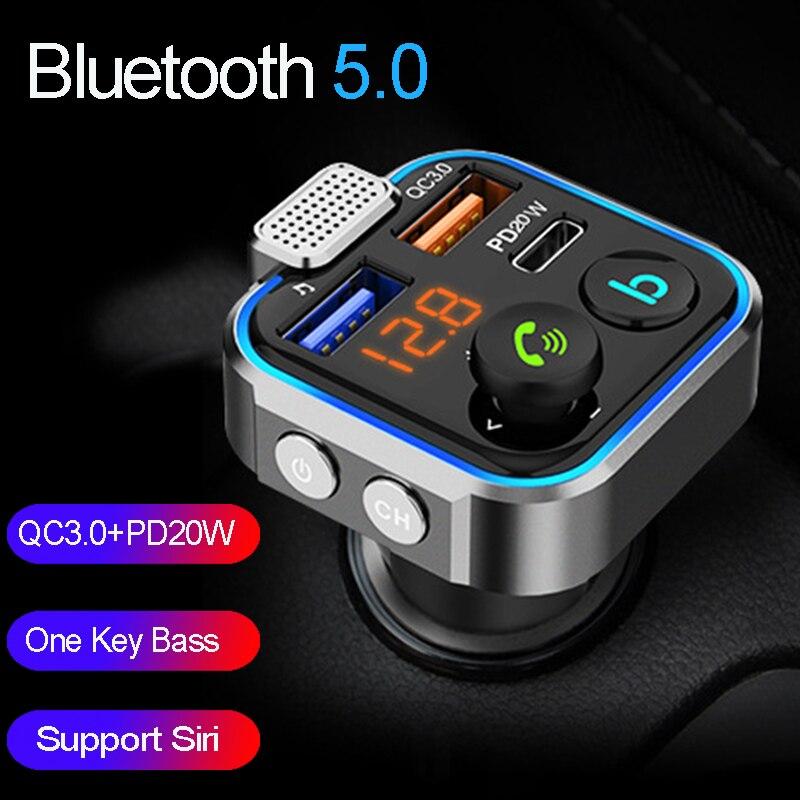 Jinserta qc3.0 pd20w carregador rápido carro bluetooth 5.0 transmissor fm um baixo chave mp3 player grande microfone usb música jogar
