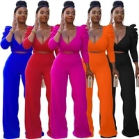 2021 summer new womens fashion deep v neck puff sleeve lace up top high waist casual wide leg pants set two piece set