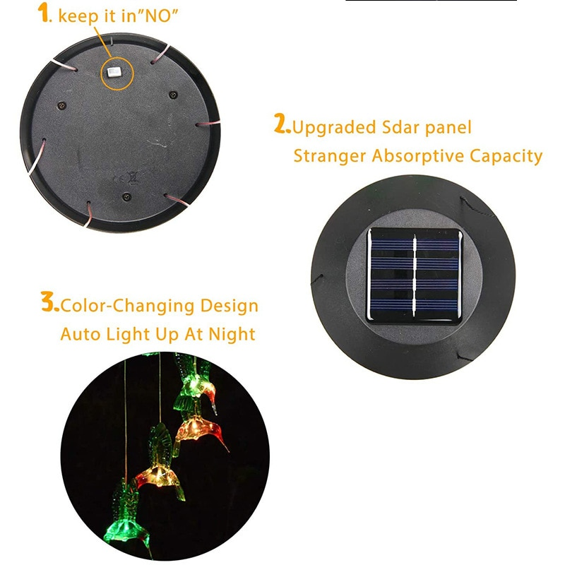 LED Solar Power Changeable Light IP65 Waterproof Colorful Butterfly Wind Chime Lamp for Home Outdoor Garden Yard Decoration