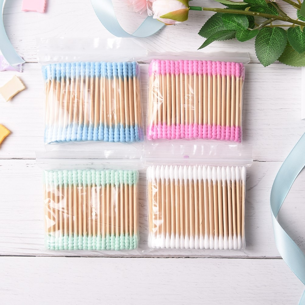 100 unids/lote gran oferta bastoncillo de algodón cosmético doble cabeza acabado algodón limpio bastoncillos herramientas de limpieza para niños adultos