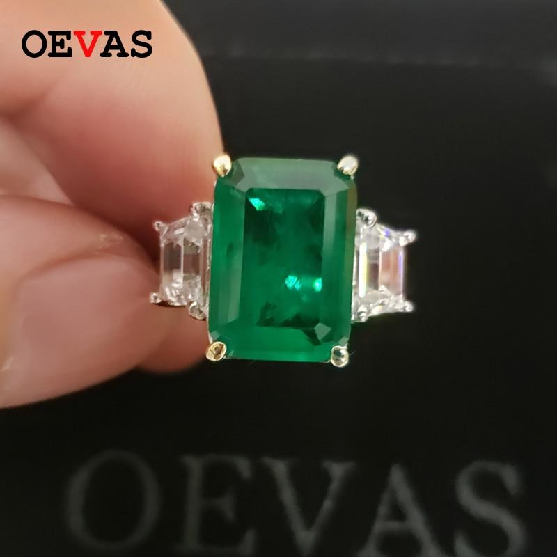 OEVAS 100% 925 فضة مكون المويسانتي الزمرد الأحجار الكريمة المولد الزفاف خاتم الخطوبة الجميلة مجوهرات بالجملة