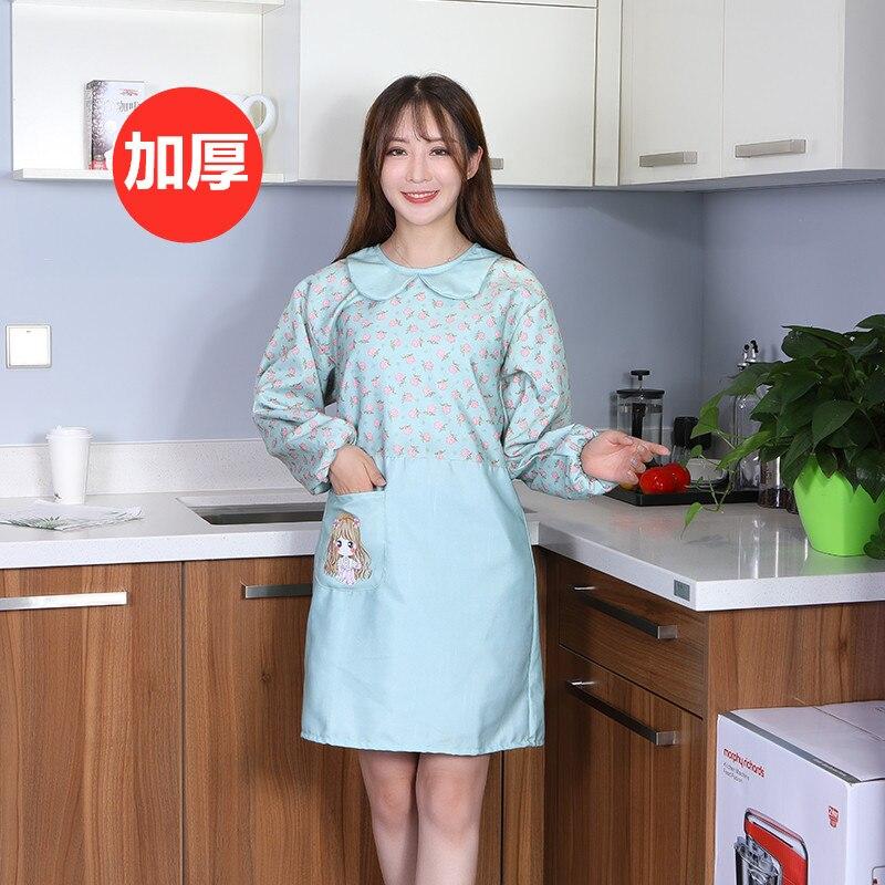 Delantal bonito de manga larga para mujer, para cocina, impermeable, resistente al aceite, moda de cocina con mangas, abrigo, ropa de trabajo para adultos