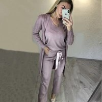 none new womens knit suit vest pants cardigan three piece women fashion suits 2020 real v neck full drawstring cotton long
