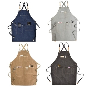 Chef Apron Cotton Canvas Cross Back Adjustable Apron with Pockets for Women and
