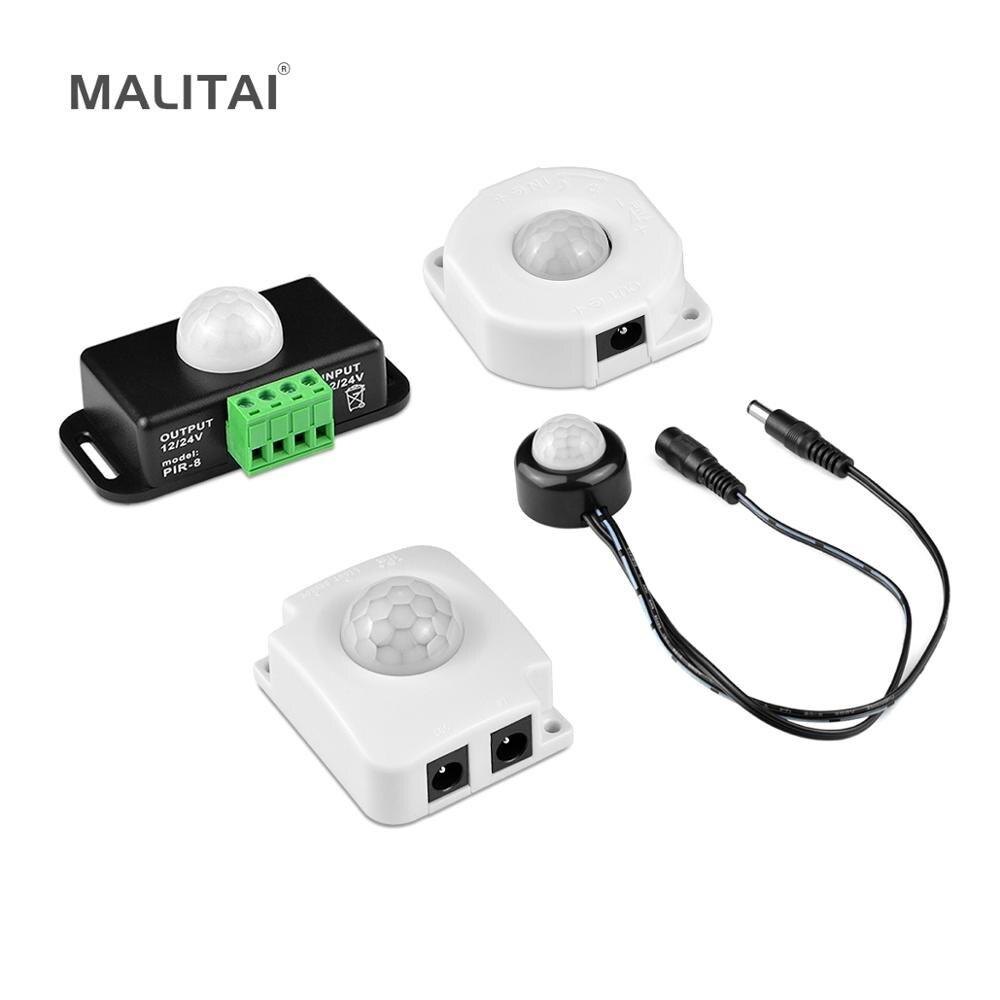 PIR Interruptor Sensor De Movimento 12 V-24 V Smart Auto ON/OFF Interruptor de luz DIY USB Sensor De LED fita tira luz Neon RGB Fita