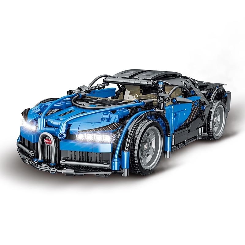 التكنولوجيا الفائقة سلسلة الطوب اللعب كول الأزرق سباق السيارات اللبنات نموذج سيارة بناء مجموعة أدوات التجميع