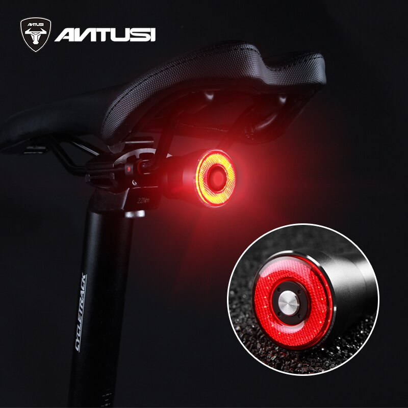 Luz trasera inteligente de seguridad en ciclismo ANTUSI Q5 con recarga USB LED MTB, luz trasera, lámpara de freno automática para bicicleta, luz Flash para bicicleta de carretera