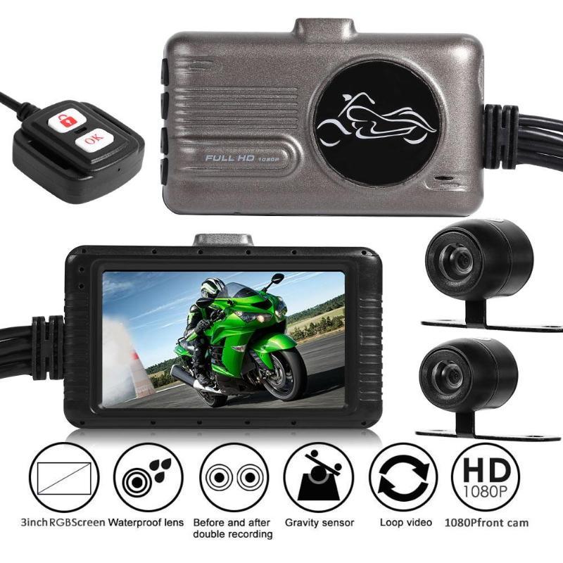 3inch Motorcycle Dual Camera DVR Motor Dash Camera w Special Dual-track Front Rear View Recorder Motorbike Camera Recorder