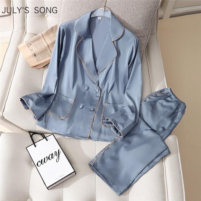 JULYS SONG Faux Silk Pajamas Set Spring Summer Woman Sleepwear Casual Long-sleeved Trousers Satin Female Homewear