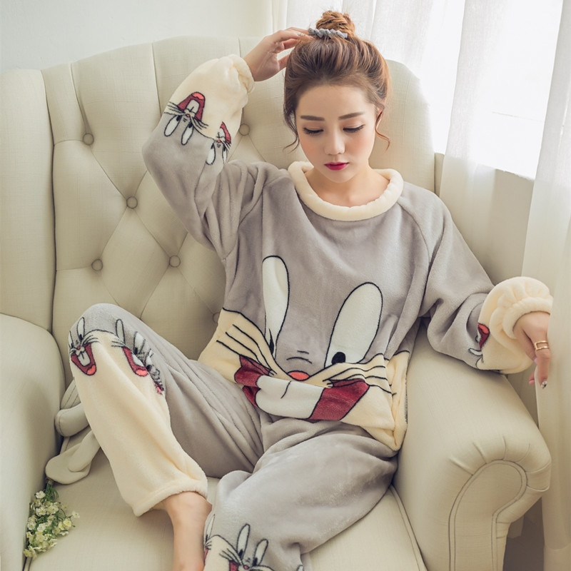 Korean Winter Velvet Flannel Pyjamas Women Cartoon Pjs Long Sleeve Plus Size Pajama Set Warm Home Clothes Pijama Mujer