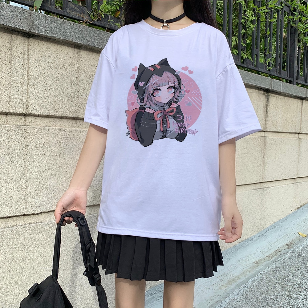 Summer Ovzersied Women T-shirt Cartoon Short-sleeved Tee Kawaii Anime T Shirt Casual Harajuku Tops S
