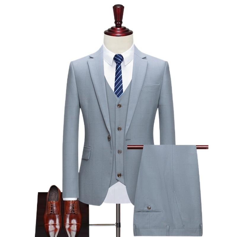 Deluxe men grid wedding casual tuxedo men Britain slim suit 3 men quality business social club suit clothing HOMME/ suit men