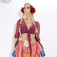 mesh belly dance top momen long sleeves belly dance flare blouse top bxx17 19