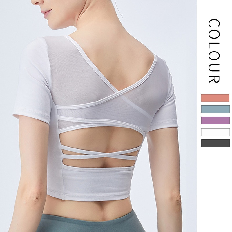 Camiseta de manga corta para Yoga, parte superior de belleza para hacer ejercicio en la espalda, parte superior ajustada y elástica, ropa deportiva, Top corto de malla con sujetador incorporado