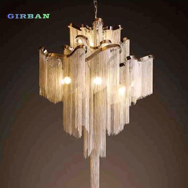 Modernas lámparas colgantes de aluminio con borla y cadena de lujo D80cm, lámparas colgantes de plata y oro para el salón de Hotel y el Salón de Arte LED decorativo para la sala de estar