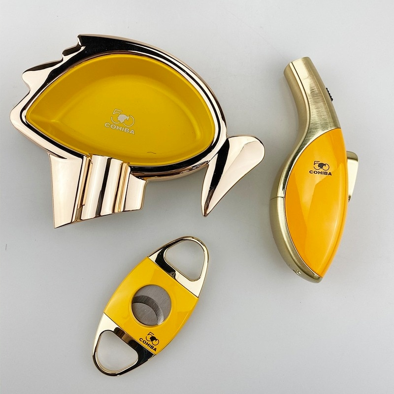 COHIBA Cigar Gift Set Ashtray Cutter Lighter Windproof Torch Jet Flame Cigar Accessories Set Butane Gas Gift Box enlarge