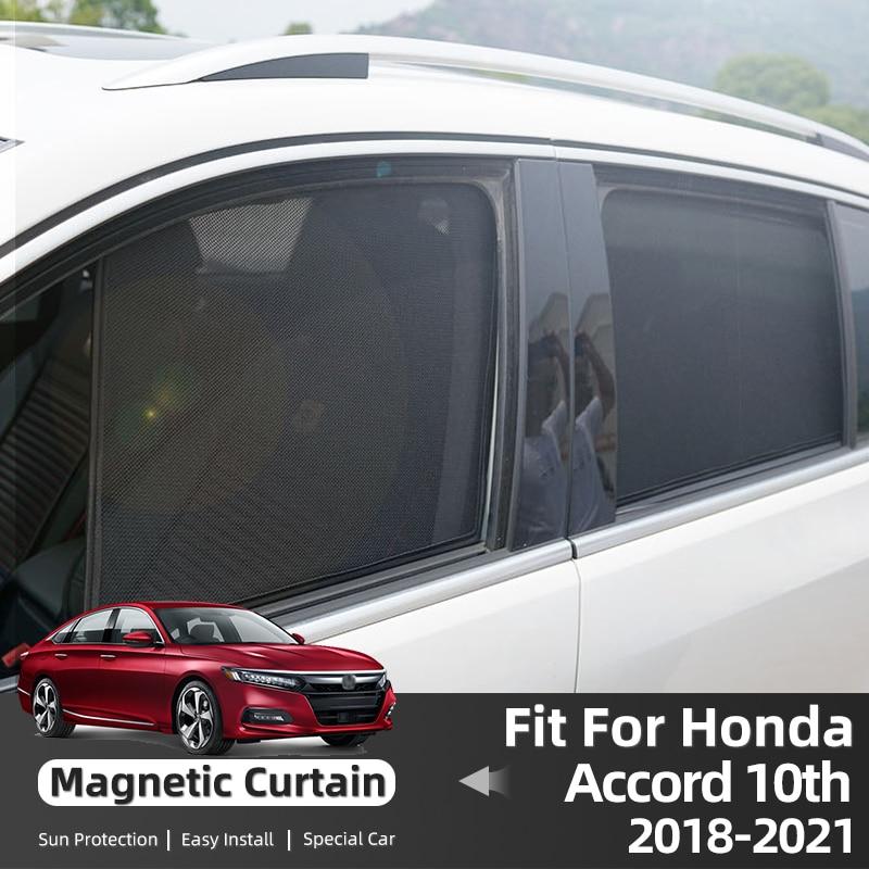 Магнитные автомобильные шторы для Honda Accord 10, 2018, 2019, 2020, 2021, солнцезащитные козырьки для окон, солнцезащитные аксессуары