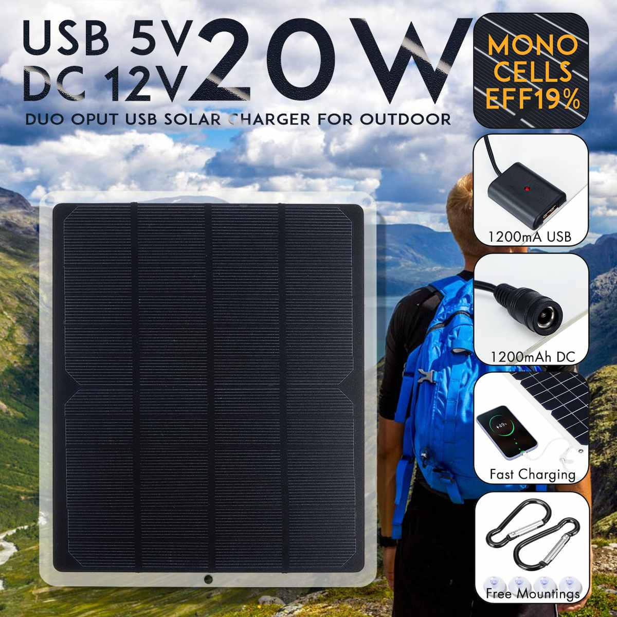 20W 12V Portable Solar Panel Waterproof USB Monocrystalline Solar Panel with Car Charger for Outdoor Camping Hiking Travel