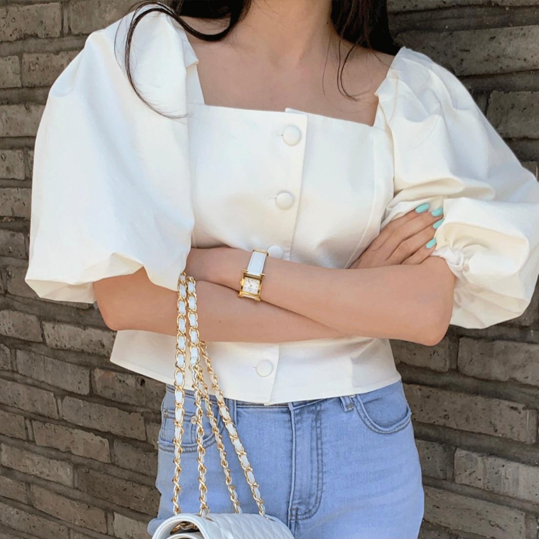 2021 الصيف الكورية شيك نفخة كم بلوزة بيضاء المرأة عادية مكتب سيدة قميص قصير ملابس الشارع الشهير بلوزات الجمالية السيدات