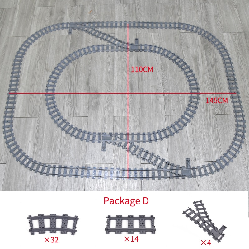 City Trains Flexible Tracks Forked Straight Curved Rails Switch Building Block Bricks Technical Crea