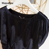 2021 new spring and summer silk black fan gold thread round neck mid length womens short sleeved dress