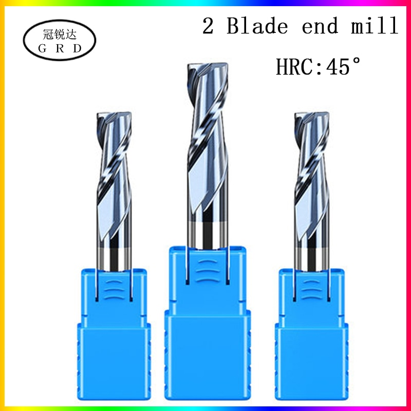 HRC45 2 Flute end mill 1.5mm 1~12mm 1~20mm 6mm 8mm 12mm 50L 60L 75L 80L 100L CNC carbide  metal router bit milling cutter metall
