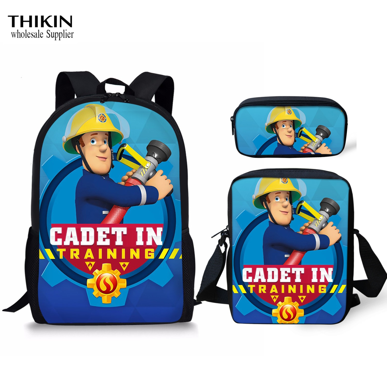 THIKIN bombero Sam patrón niños mochilas escolares para adolescentes niñas bolsas de libro Niños mochila niñas niños bolsa de escuela primaria Set