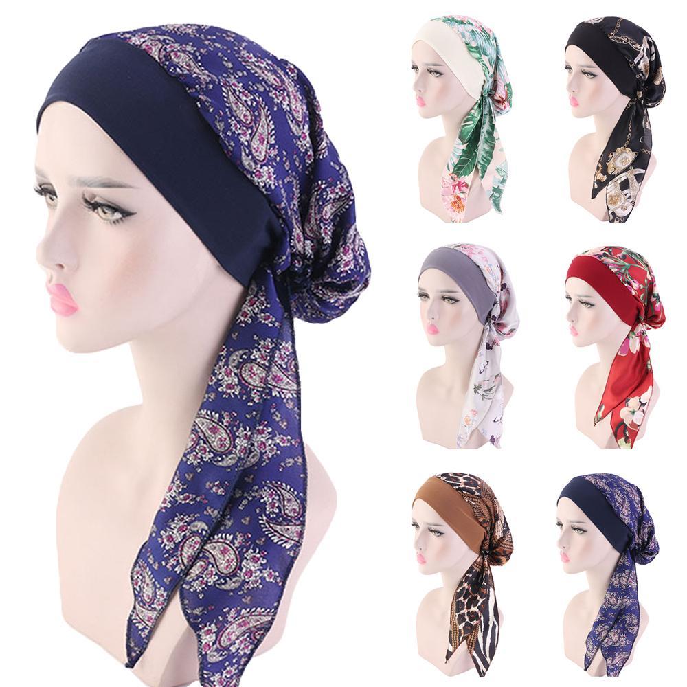 2020 NEW Women muslim fashion hijab cancer chemo flower print hat turban head cover hair loss scarf